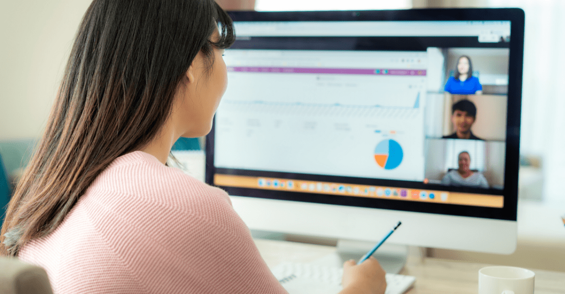 Woman working remotely on computer