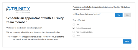 Screenshot of the Trinity Appointment platform